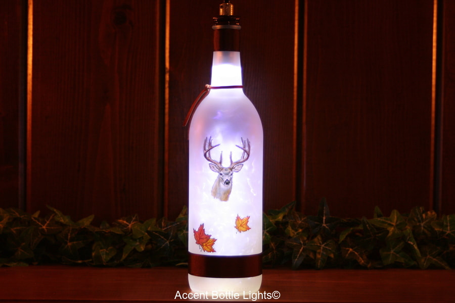 Deer Hunting Themed  Wine Bottle Lamp