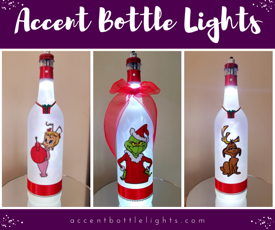 Grinch, Cindy Lou Who, and Max the Dog Christmas Bottle Light Lamps 2020