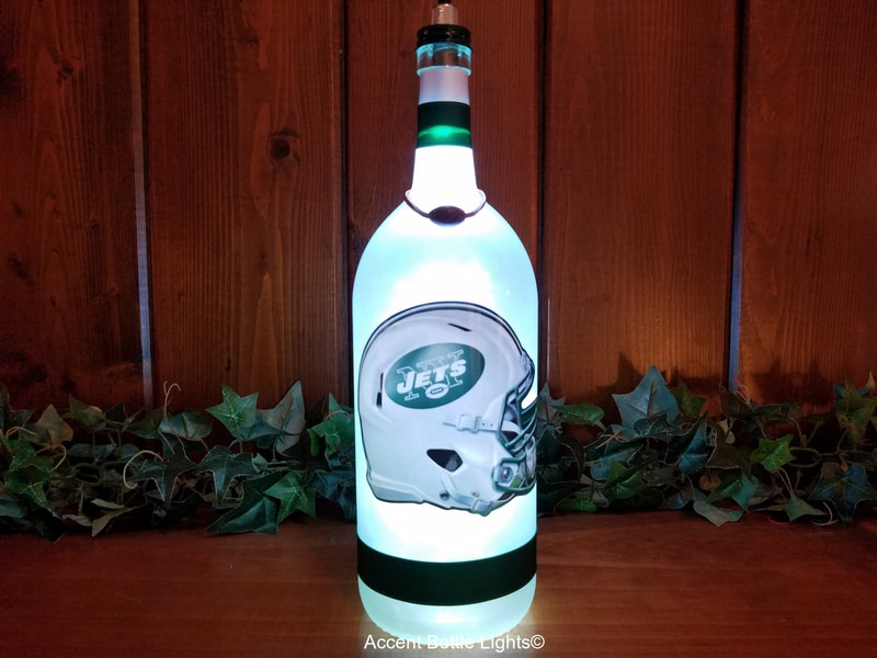New York Jets Man Cave Football Bottle Lamp