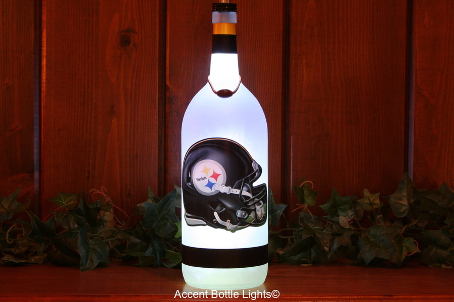 Pittsburgh Steelers Man Cave Football Bottle Lamp