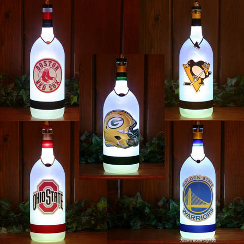 Sports Team Man Cave Wine Bottle Lamps